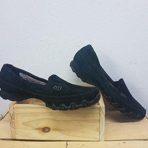 Womens Black Suede Skechers Memory Foam Loafer